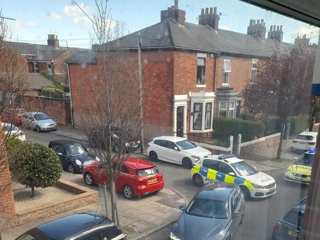 The scene of the 14-year-old's arrest after a stolen car was blocked in by police after turning into a dead end in Oswald Road, Preston yesterday afternoon (Monday, April 5). Pic: Gemma Kilshaw