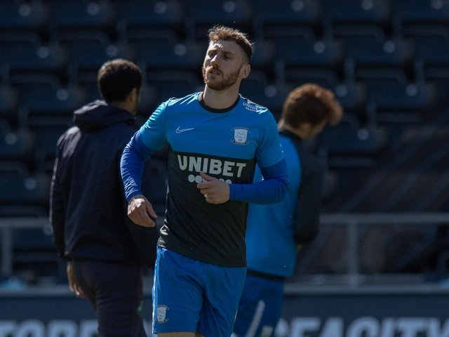 Louis Moult in the warm-up before Preston North End's win at Swansea on Easter Monday