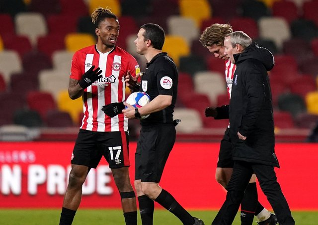 Brentford's Ivan Toney (left) appeals to officials after the final whistle against Birmingham on Tuesday