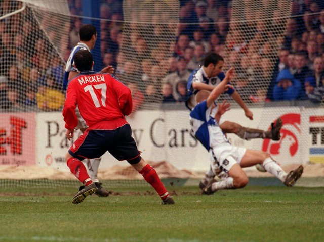 Jonathan Macken gives Preston North End the lead against Bristol Rovers at the Memorial Ground in April 2000