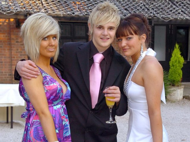 Carr Hill High School leavers ball at Bartle Hall, 2009. From left, Alex Spencer, Daniel Wynn and Stacey Cain.