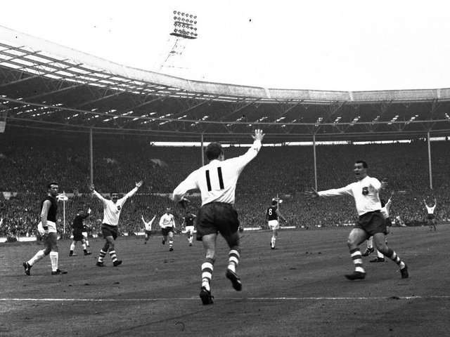 Doug Holden (No.11) scores for PNE against West Ham in the 1964 FA Cup final at Wembley