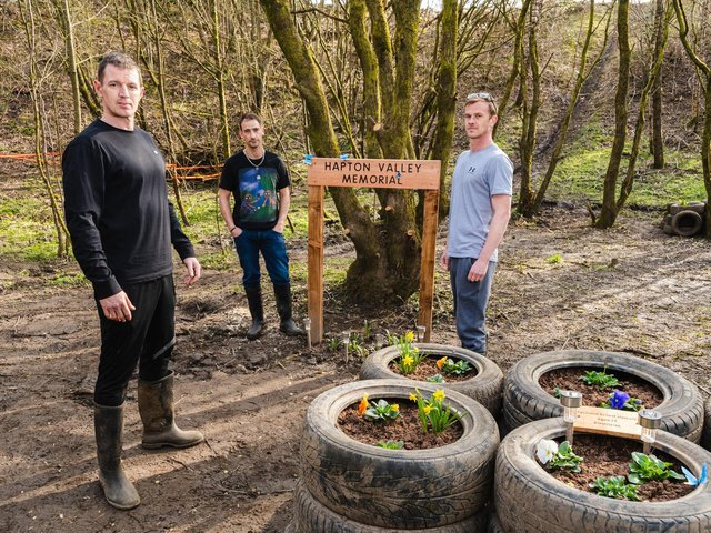 The Northern Monkeys (left to right) Damion Whitton, Chris Kipper Taylor and Bruce-Lee Knowles at the Hapton Pit memorial site they have created