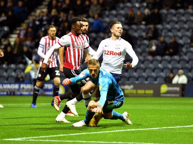 Alan Browne gives Preston North End the lead against Brentford in October 2018