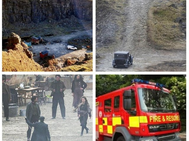 Lancashire firefighters rushed to the set of Peaky Blinders at Lee Quarry, off the A681 near Bacup, on Thursday afternoon after a member of the public reported seeing smoke rising from filming area