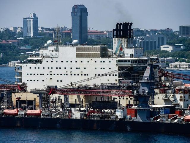 The vessel 'Pioneering Spirit' of Swiss offshore service provider Allseas passes through the Bosphorus towards the Mediterranean from the Black Sea