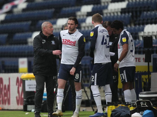 Preston North End interim head coach Frankie McAvoy makes a triple substitution during the defeat to Brentford