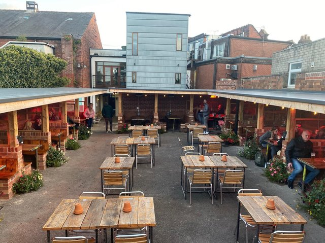 The outdoor seating area at the Cube Bar in Poulton which the landlord Paul Mellor says he has been told is not coronavirus compliant