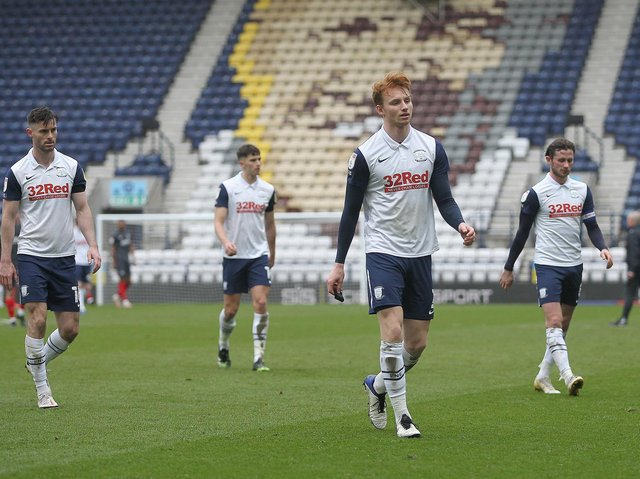 Preston North End players troop off the pitch at Deepdale after their 5-0 defeat to Brentford
