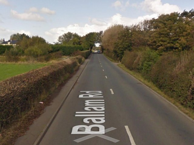 Ballam Road for closed for six hours while investigators worked at the scene (Picture: Google Street View)