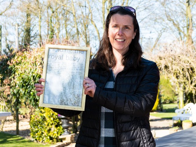 Vet Angela Spar pictured with the framed cutting   Photo: Kelvin Stuttard