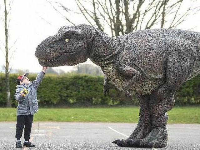Pupil Freddie greets Zeus the dinosaur, photo: Daniel Martino