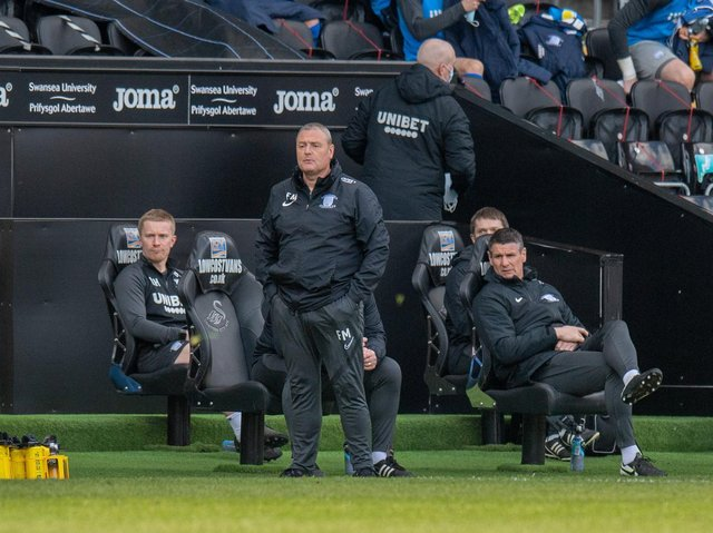 PNE interim head coach Frankie McAvoy in the technical area against Swansea on Easter Monday.
