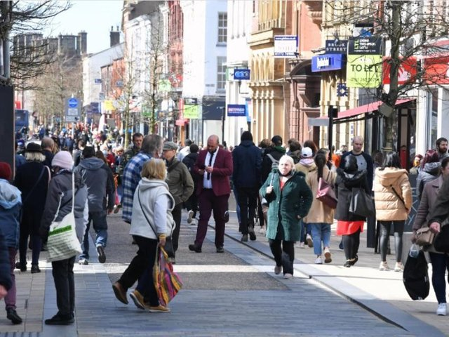 Crowds in the city centre on Monday were greater than before Covid.