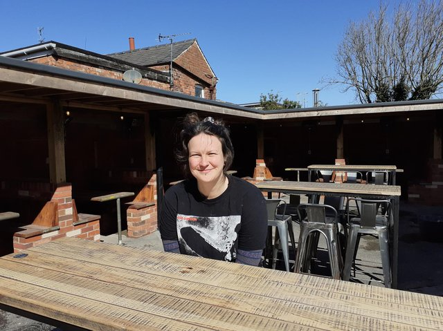 The Cube BAr in Poulton has opened to outdoor seated customers. Pictureds is owner Paul Mellor's daughter Danielle