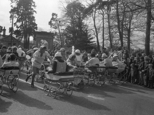 The annual Leyland pram race got off to a good start when the event was kicked off by skipper Graham Hawkins, Alan Kelly and George Ross from Preston North End. The race, held in Worden Park, was to raise money for the Leyland and District Committee of the Cancer Research Campaign