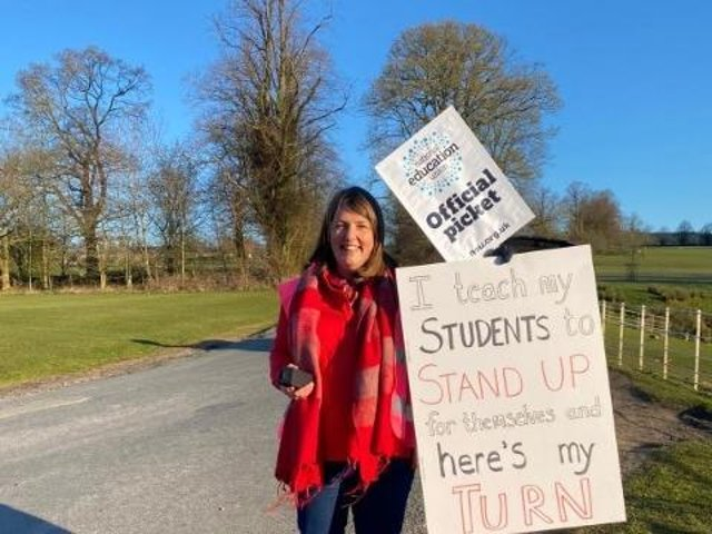A protester at the picket outside Stonyhurst College this morning. Further strike action has been planned.