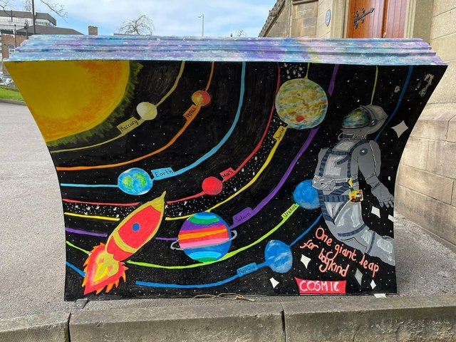 The Cosmic bench created by pupils from St George's CE Primary School
