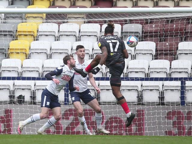 Brentford's Ivan Toney scores his side's third goal against Brentford