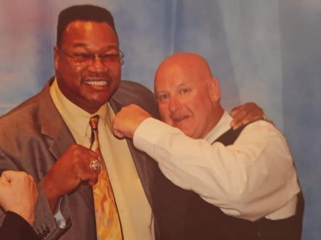 Jeff (right) with former WBC heavyweight champion Larry Holmes (centre)