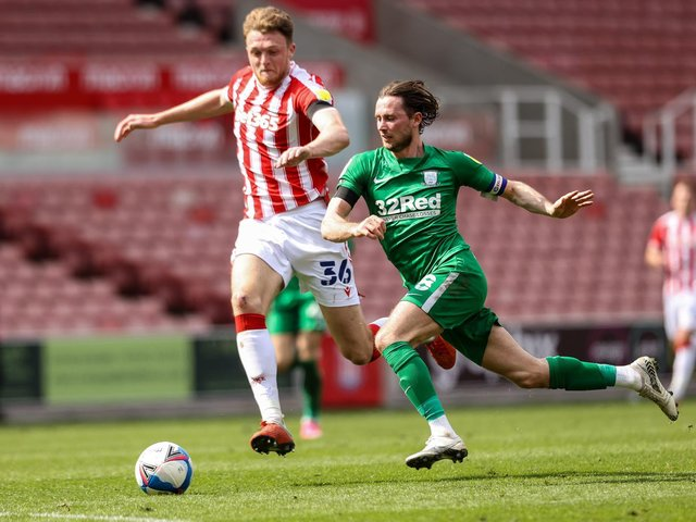 PNE skipper Alan Browne is challenged by Harry Souttar which brought the Stoke defender a red card