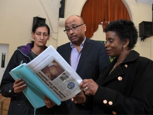 Sekeena Muncey (left) with Glenda Andrew and Preston MP Sir Mark Hendrick.