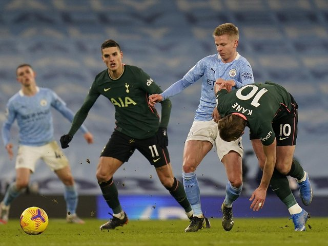 Action from Manchester City's game against Tottenham - two of the six English clubs who have reached an agreement to form a new European Super League