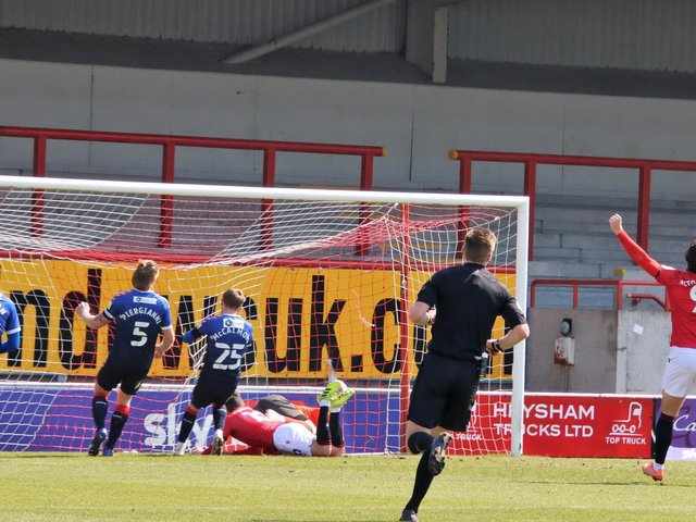 Aaron Wildig scores for Morecambe against Oldham Athletic at the weekend