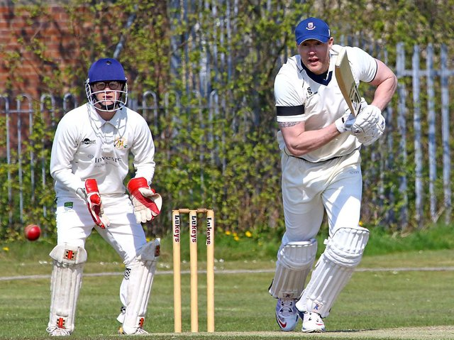Andrew Flintoff in action for St Annes against Morecambe (photo:Tony North)