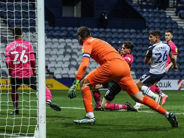 Ched Evans fires home Preston North End's second goal against Derby County at Deepdale