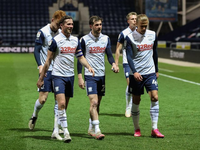 Preston North End players leave the pitch after their 3-0 win over Derby at Deepdale