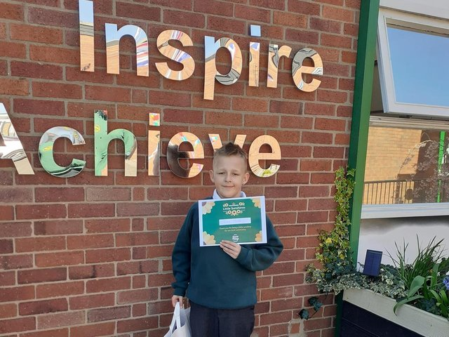 Ingol pupil Reece Hamilton Heath walked two miles every day throughout March  and raised just short of £1,000. He won an award for his efforts.