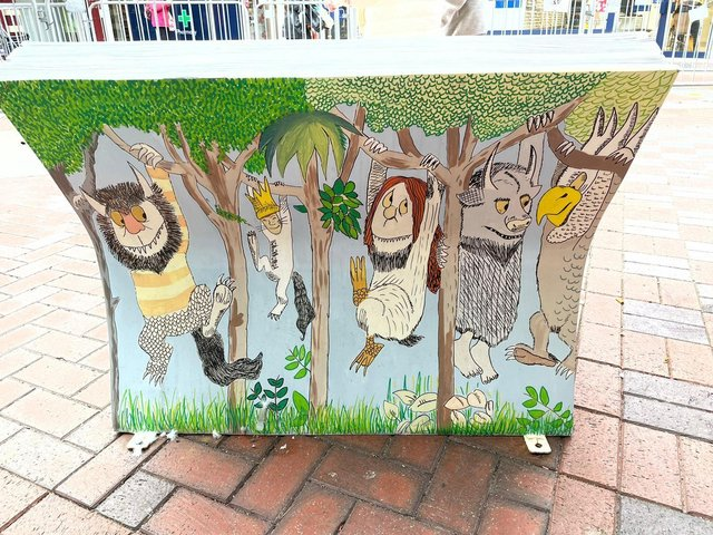 Artwork you can enjoy  as you relax ... this bench called Where the Wild Things Are was created by pupils at Balshaw Lane Community Primary School