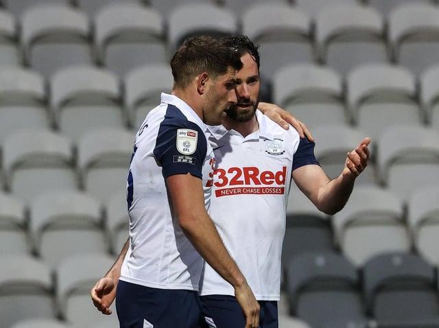 Goalscorer Ched Evans with Greg Cunningham