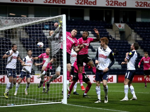 Goalmouth action for PNE's 3-0 win over Derby at Deepdale.