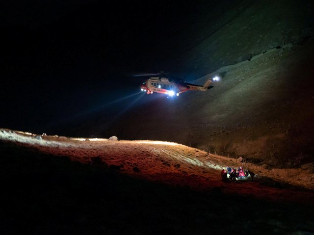 He was airlifted to hospital after being rescued by volunteers from the Keswick Mountain Rescue Team.