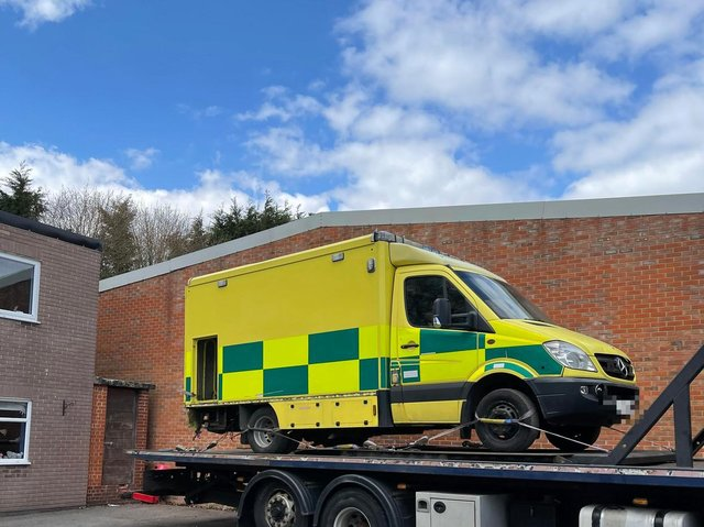 'Arnold' the ex-north west ambulance on tow, photo courtesy of Simon Harris.