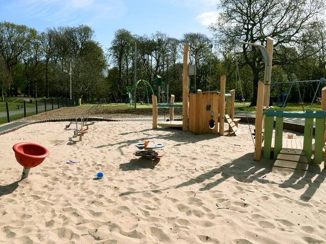 The new sand pit in Hurst Grange Park