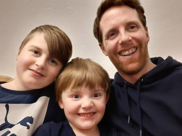 Shaun, with his sons Charlie and Joseph, has pledged to raise £1M for Pendleside Hospice