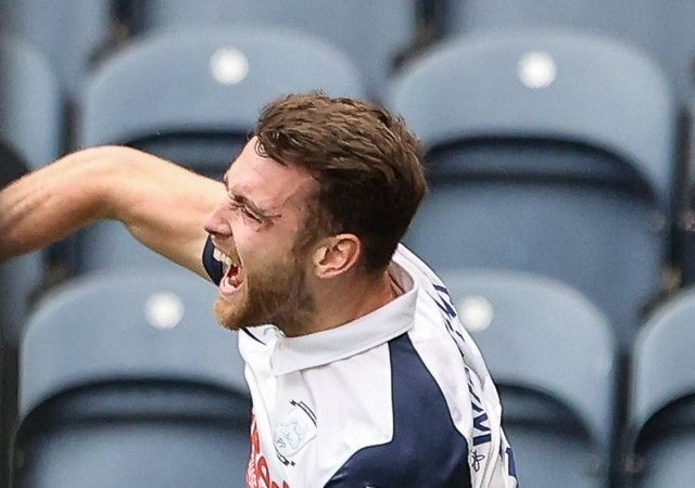 Preston midfielder Ben Whiteman celebrates scoring against Derby in midweek