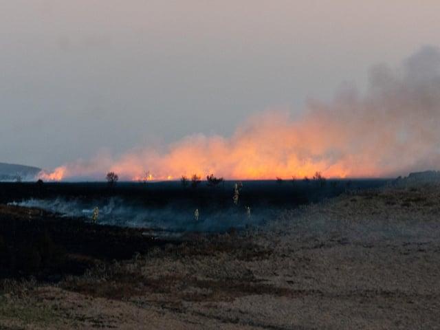 The fire was in moorland between Clough Bottom Reservoir and Clowbridge Reservoir.