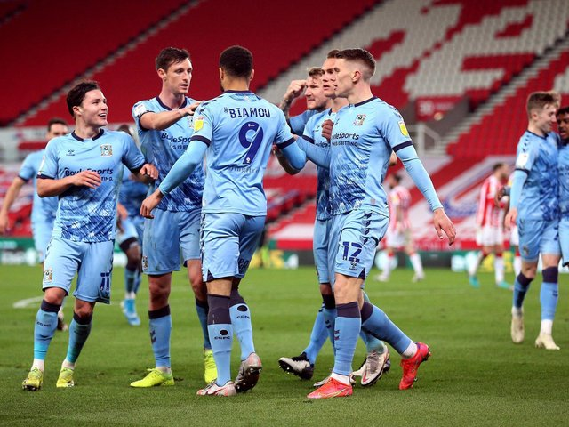 Maxime Biamou celebrates scoring Coventry's second goal in their 3-2 win over Stoke City on Wednesday.