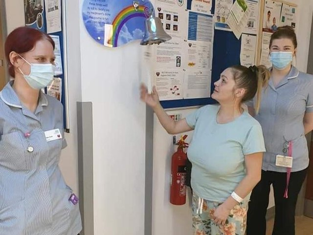 Vikkie Ayres rang the bell at Royal Preston Hospital when she was first given the all clear