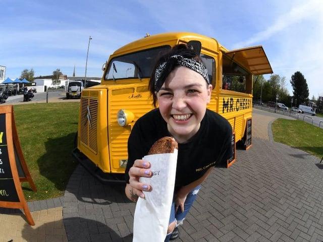 Kally Draycott manages the new Mr Cheesy van at Preston Docks