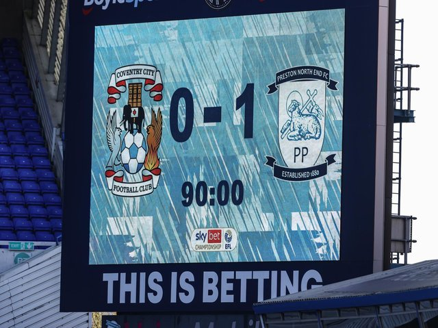 The scoreboard at At Andrews showing PNE's victory over Coventry.