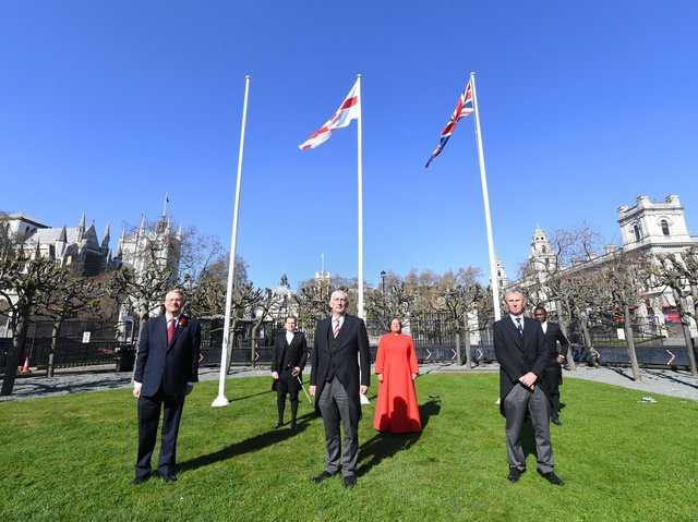 Sir Lindsay Hoyle (front centre) and Nigel Evans MP (front right) at a ceremony to raise the Cross of St. George outside Parliament (image: ©UK Parliament/Jessica Taylor)
