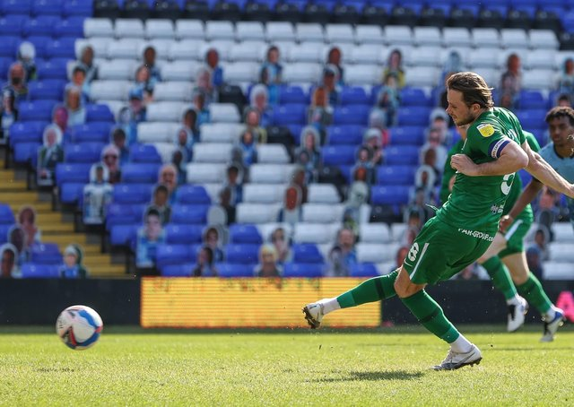 Alan Browne slots home North End's winner from the penalty spot at St Andrew's