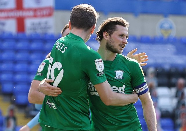 PNE skipper Alan Browne is congratulated by Emil Riis after scoring the winner at Coventry