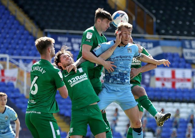 Liam Lindsay and the PNE defence repel another Coventry attack