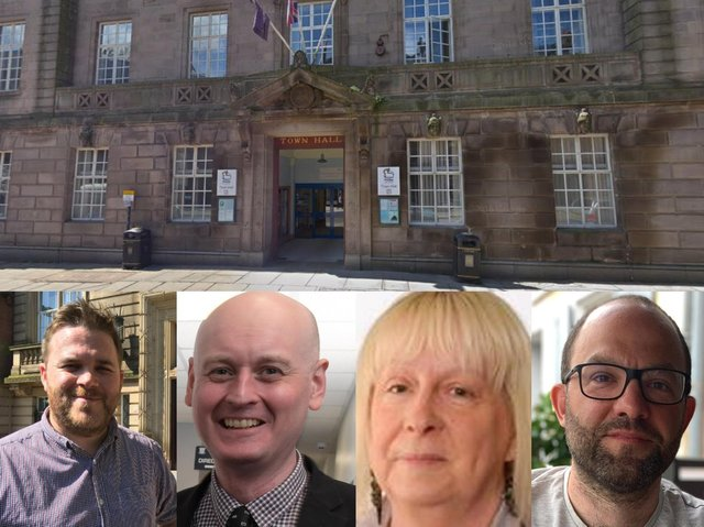Hoping you will give your vote to their party at the Preston City Council elections on 6th May - Liberal Democrat group leader John Potter; Labour group and council leader Matthew Brown; Conservative group leader Sue Whittam; and Preston Green Party chair David Nicholson